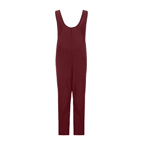 71ad998206 Bluestercool Women Sleeveless Dungarees Loose Cotton Long Playsuit Jumpsuit  Pants Trousers  Amazon.co.uk  Clothing