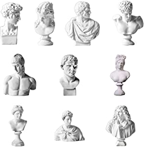 ARRIVEOK Famous Sculpture Plaster Bust Statue Greek Mythology Figurine Gypsum Portraits Nordic Style Drawing Practice Crafts Home Decor (A Set of 10)