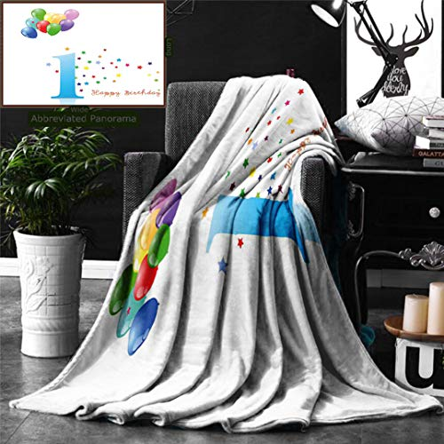 Unique Custom Digital Print Flannel Blankets 1St Birthday Decorations Kids Party Theme One with Abstract Colorful Stars and Bal Super Soft Blanketry for Bed Couch, Throw Blanket 70 x 50 Inches ()
