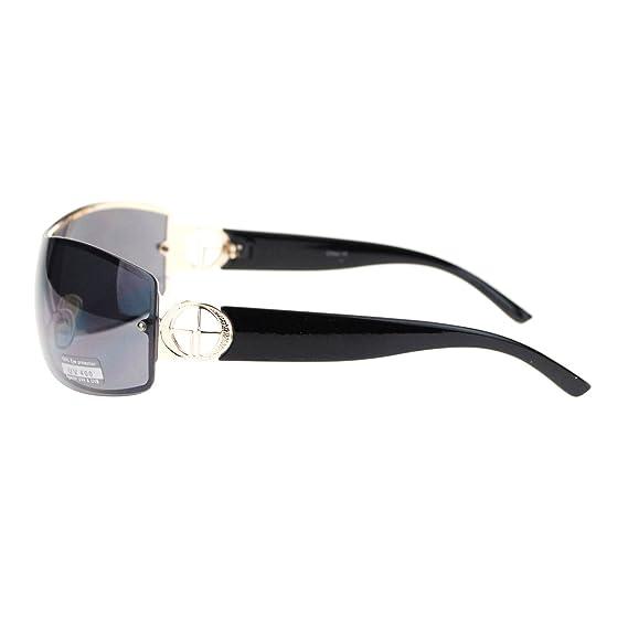 a27b2681594c3 Amazon.com  Womens Elegant Rimless Shield Warp Luxury Designer Sunglasses  Gold Black  Clothing