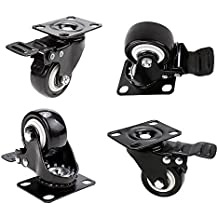 """2"""" Swivel Caster Wheels, PU Rubber Base Quite Mute No Noise, 360 Degree Rotatable with Top Plate and Brake Bearing Heavy Duty 600 lbs Set of 4, Black (new)"""