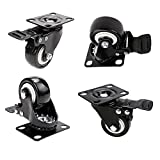 2'' Swivel Caster Wheels, PU Rubber Base Quite Mute No Noise, 360 Degree Rotatable with Top Plate and Brake Bearing Heavy Duty 600 lbs Set of 4, Black (new)