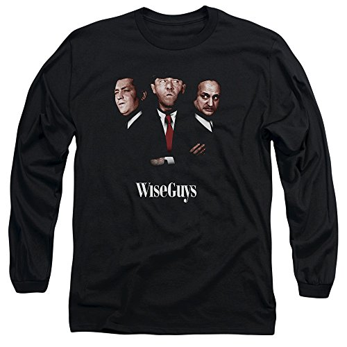 Three Stooges Wiseguys Unisex Adult Long-Sleeve T Shirt for Men and Women, Large Black