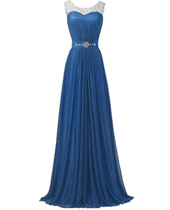 QiJunGe Womens Elegant Chiffon Evening Gowns Long Formal Bridesmaid Prom Dress Blue ...
