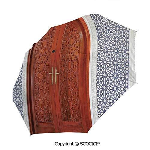 SCOCICI Folding Umbrella, Antique Wooden Door of Asian Architecture with Star Form Oriental Belief Automatic Folding Umbrella Sun Protection Parasol Rain/Sun Umbrella for Ladies