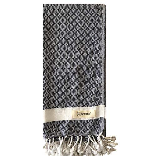 Bersuse 100% Cotton - Laodicea Turkish Hand Towel - Solid Diamond Weave - Oeko-TEX - 23 x 43 Inches, Dark Blue (Turkish Towels Monogrammed Beach)