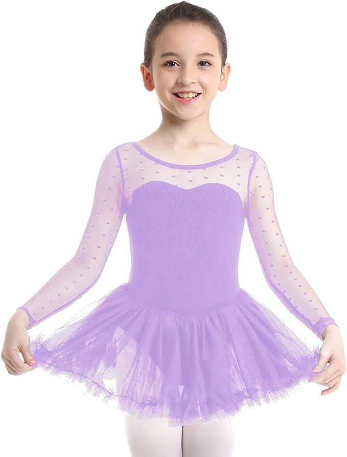 Bambina Balletto Leotard Abito Vestito di Balletto Ragazza Tutu Manica Lunga Abbigliamento da Ginnastica Abiti da Danza Classica Body Usura di Ballo Abiti