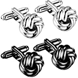 OSTAN 2 Pair Men's Cufflinks Alloy Ball Simple Style Silver and Black