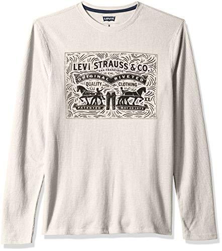 Levi's Men's Covington2 Thermal Knit Shirt, oatmeal heather/woodgrain, 2X - Woodgrain Snap