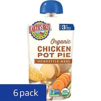 Earth's Best Organic Stage 3 Baby Food, Chicken Pot Pie Dinner, Non Gmo Ingredients, 4 Grams Of Protein, 3.5 Oz Resealable Pouch (Pack Of 6) 6