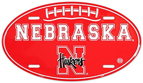 Nebraska Huskers Oval License Plate Tin Sign 6 x 12in - Oval License Plates Plate