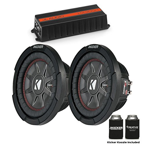 "JL Audio for Harley Saddle Bag 300 Watt HX300/1 Amp and Two Kicker CompRT 8"" Subwoofers 43CWRT82"