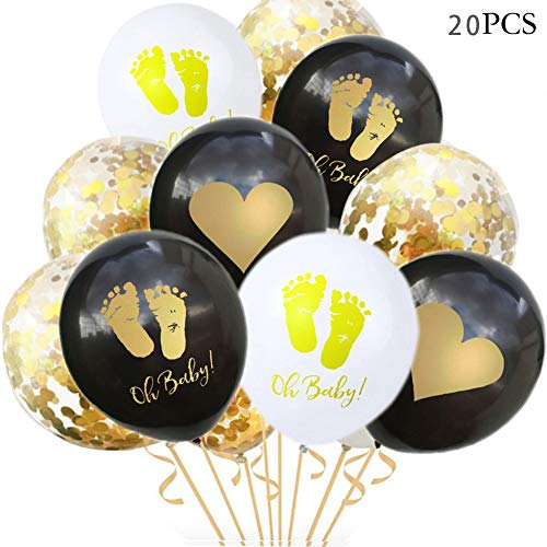 Baby Shower Balloons Oh Baby Black,White, Confetti Balloons Pack of 20, 12 inch, for Boy and Girl Baby Shower Birthday Party Supplies -
