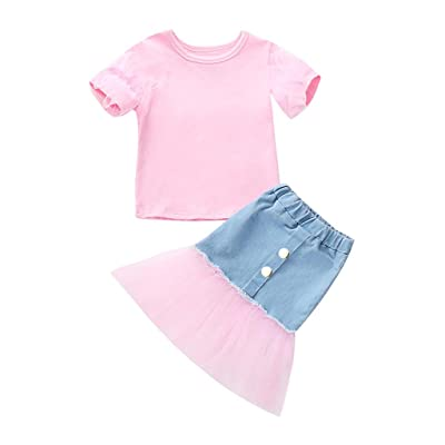 Jchen Little Girl Summer Princess Sets, Kids Baby Girls Short Sleeve Solid Color Tops Gauze Patchwork Cowboy Skirts Girls Princess Outfits for 2-8 Years Old: Sports & Outdoors