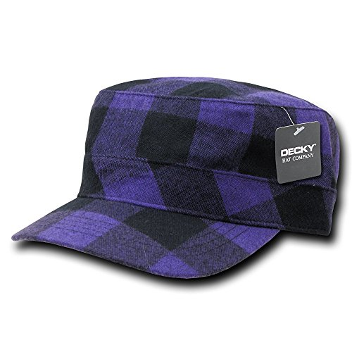 DECKY Flannel Flat Top Cap, Purple -