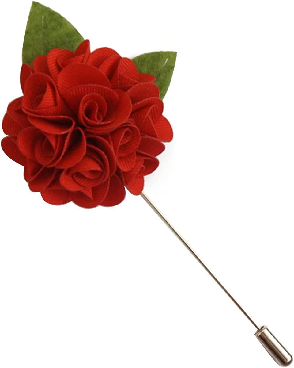Sunny Home Men's Flower Pins Lapel Brooch Handmade Wedding Boutonniere for Suit