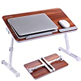 Portable Laptop Table by Superjare | Foldable & Durable Design Stand Desk | Adjustable Angle & Height for Bed Couch Floor | Notebook Holder | Breakfast Tray - American Cherry