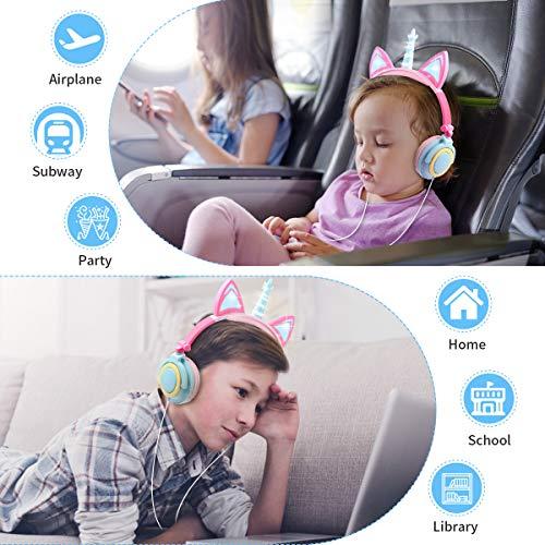Unicorn Kids Headphones Girls, Wired Headphones Over Ear, Foldable Adjustable Cat Ear Headphones 3.5mm Jack,85db Volume Limited, Home/Travel(Multicolor)