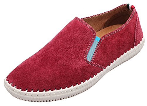 Salabobo QYY-9988-1 New Mens Casual Leather Loafers Slip-on Smart Driving Shoes Red NDGiQ