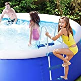 Goplus Inflatable Swimming Pool Family Lounge Pool Swim Play Center Easy Set Pool Without Pump, 8' x 30'' (Blue)