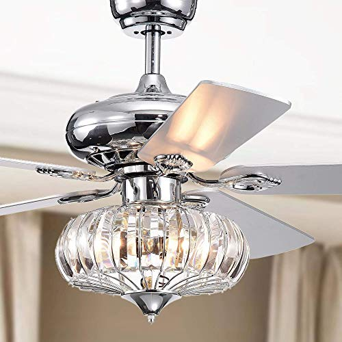 - LuxureFan 52Inch Modern Reversible Ceiling Fan Light Bulbs with 5 Wood Blade Crystal Ceiling Fan with Remote Control 3 Speed Decoration for Home Restaurant Living Room of Chrome (Type 1)