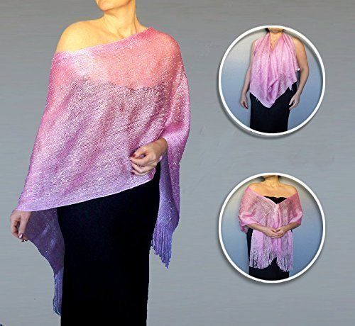 Metallic Pink Shawl Silver Sparkle Semi Sheer Net Wrap By ZiiCi (Sheer Occasion Special)
