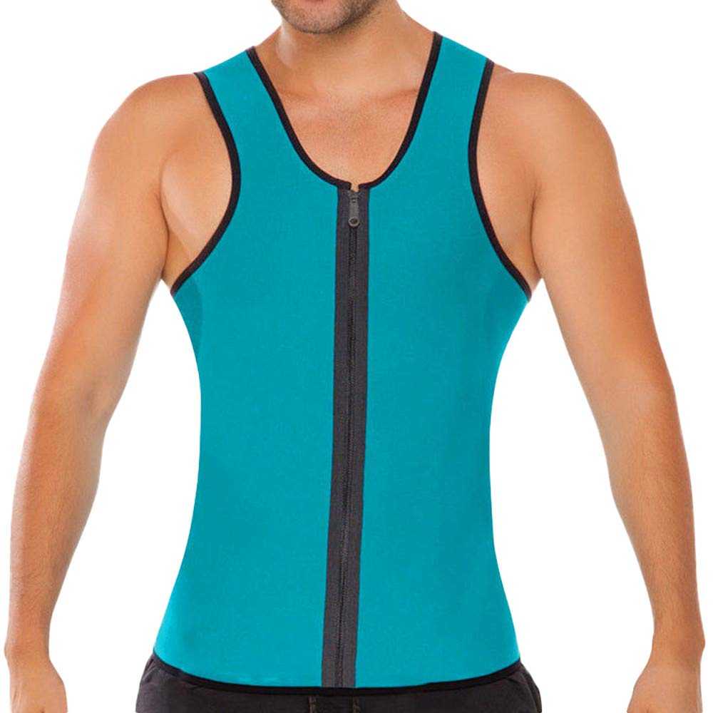 Men's Tanks Tops Shirt Bodybuilding Sport Fitness Sleeveless Vest Zipper Shaperwear (XL, Blue)