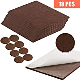 NANAN Furniture Pads, Large Floor Protectors, 18 Pack Self-Stick Felt Furniture Pads, Scratch Protectors, Cut into Any Shape, Color Coffee