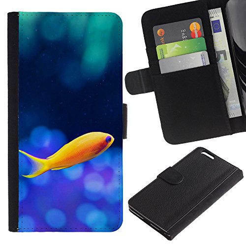 EuroCase - Apple Iphone 6 PLUS 5.5 - Cute Lonely Yellow Fish - Cuir PU Coverture Shell Armure Coque Coq Cas Etui Housse Case Cover