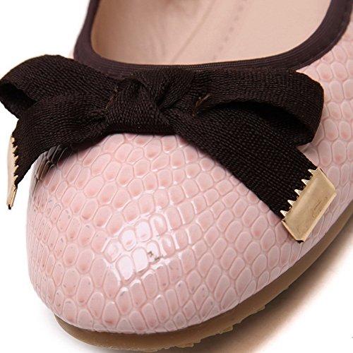 VogueZone009 Damen Ziehen kunstleder Auf No-Heel Flache Schuhe Pink-Bogen