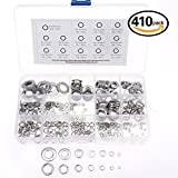 3 4 flat faucet washer - Glarks 410-Pieces M2 / 3 / 4 / 5 / 6 / 8 / 10 Stainless Steel Lock and Flat Washers Assortment Kit