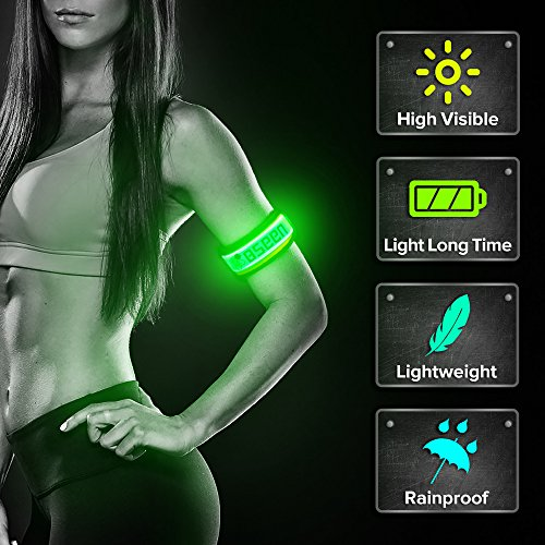 BSEEN LED Armband, 2 Pack High Visibility Light Up Sports Wristbands, Adjustable Glowing Bracelets for Runners, Joggers, Pet Owners, Cyclists (Green-Version 2)