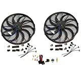 "2 Sets of 16"" Electric Curved ""S"" Blade Reversible Cooling Fan 12v 3000cfm & Thermostat Kit"