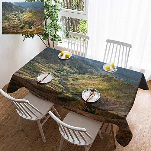 HOOMORE Simple Color Cotton Linen Tablecloth,Washable, Breathtaking View from Delgadinho Mountain Ridge Santo Antao Cape Verde Decorating Restaurant - Kitchen School Coffee Shop Rectangular 120×60in ()