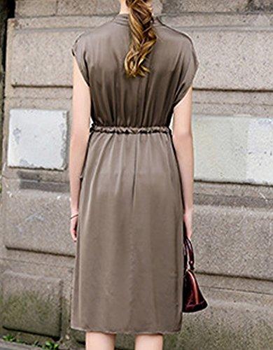 Long Cocktail Einfarbig Damen DISSA Kleider Kleid Seide Abendkleid Braun Knee S9932 Übergröße AqwXInXTg