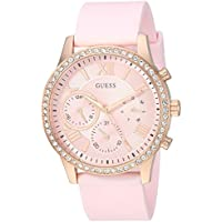 GUESS Women's Quartz Stainless Steel and Silicone Casual Watch, Color:Pink (Model: U1135L2)