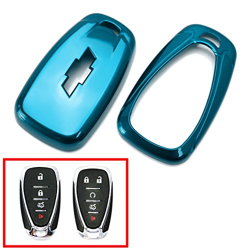 Ijdmtoy Glossy Metallic Blue Exact Fit Key Fob Shell Cover For 2016 Up Chevrolet Camaro Cruze Spark Volt  2017 Up Malibu Bolt Sonic Trax  Etc