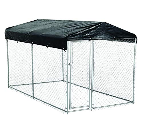 AKC American Kennel Club 5ft x 10ft x 4ft High Galvanized Chainlink Dog Kennel with Roof, Waterproof Cover and Free Training Guide (Medium) ()
