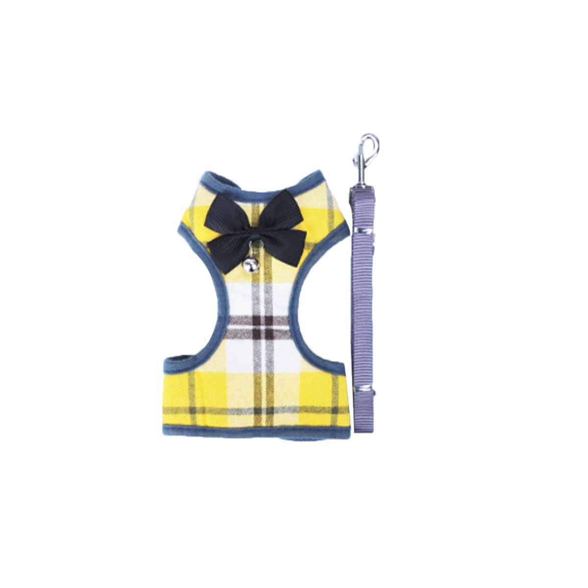 Dog Chain, Dog Leash, Teddy Dog Chain, Small Dog Leash, Evening Gown, Chest Strap, Hyena Rope, Pet Supplies (color   Yellow and White, Size   S)