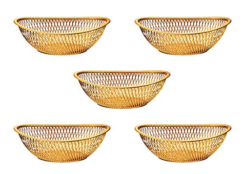 (Impressive Creations Reusable Decorative Serving Basket - Plastic Fruit Basket - Bread Basket with Elegant Rose Gold Finish - Functional and Modern Weaved Design - 5pk)