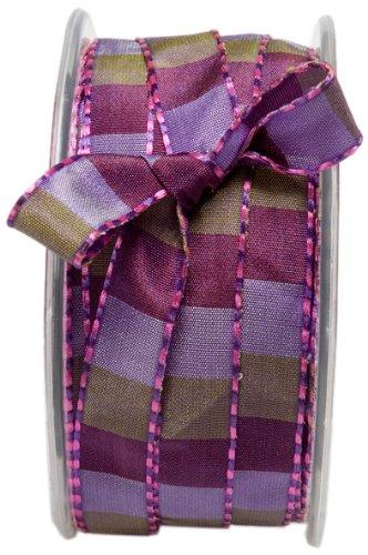 May Arts AB22-5 yards 1//2 Inch Pink//Fuschia Squared Stitch Ribbon
