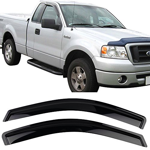 Window Visor Fits 2004-2008 Ford F150 Standard Cab(Excludes 2004 Heritage)   Acrylic Black Slim Style Sun Rain Guards Cover By IKON MOTORSPORTS   2005 2006 2007