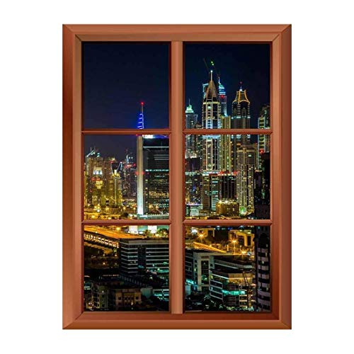 Removable Wall Sticker Wall Mural Dubai Downtown Night Scene with City Lights Creative Window View Vinyl Sticker