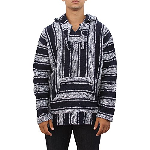 Baja Billy Original Mexican Pullover Hoodie Poncho (XX-Large, Navy/White)