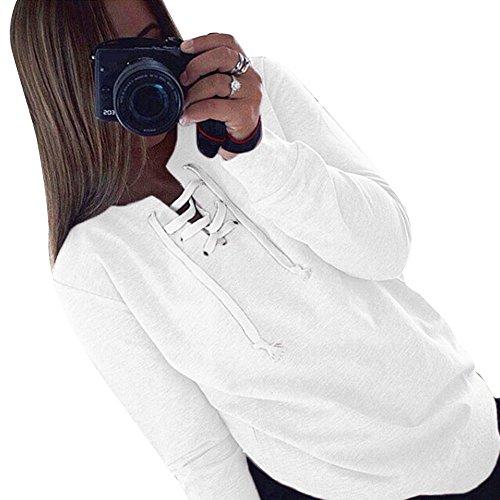 Casual Chemise Printemps Tops T laamei Cordon Pull de Jumper Shirt Manches Longues Pullover Blanc Lache Automne Serrage Femmes CX76qwZ