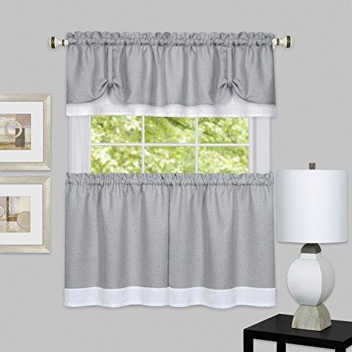 Achim Home Furnishings Darcy Window Curtain Tier & VALANCE Set, Tier-58″ X 24″ & VALANCE-58″ X 14″, Grey/White