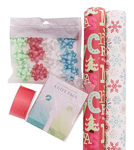 The Gift Wrap Company, Christmas Wrapping Paper Set, Snowflakes and Trees Wrap, Ribbon, Bows, and Gift Tags