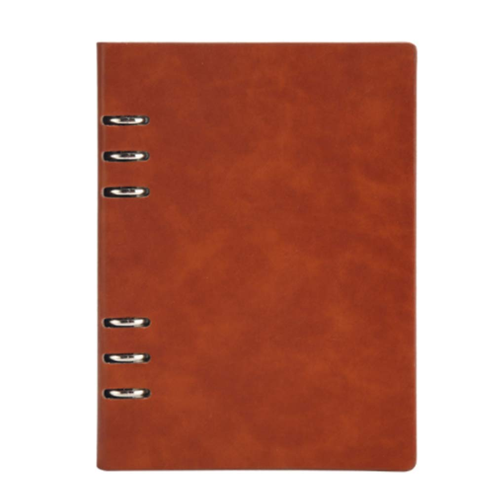 A5 Business Leather Cover Notebook Loose-Leaf Journal Lined Memo Book Bound 6 Ring Binder Diary Book 100 Sheets-Light Brown Hemore