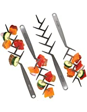 """BBQ Croc Zig ZAG Skewers – Set of 4 – Brushed Stainless Steel 15"""" Kabob Brochettes for Barbecue and Oven, Reusable Flat Branch Style"""