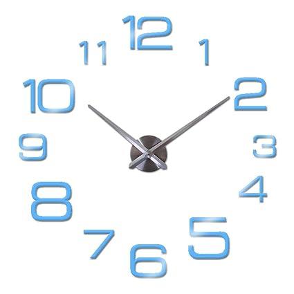 Clock 3D Mirror Clocks Watch Horloge Home Living Room Modern Wall Stickers Sky Blue 27inch